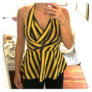Odille Yellow Grey Striped Melosa Halter Top